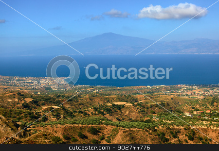 View on Etna from Aspromonte stock photo, View on Etna over Messin strait from calabrian Aspromonte by Natalia Macheda