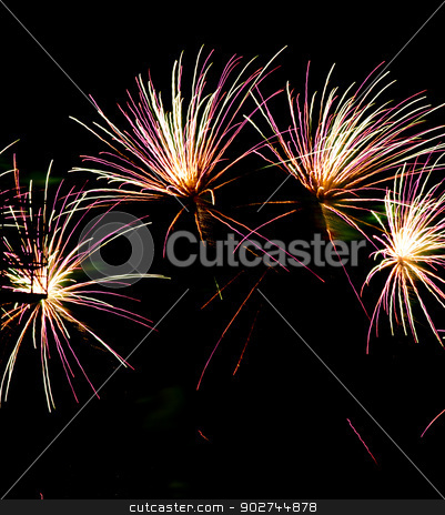 Fireworks Celebration Over Stadium Independence Day July Forth stock photo, A simple display of fireworks over a baseball stadium by Christopher Boswell