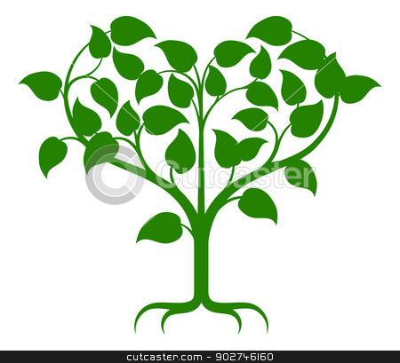 Heart tree stock vector clipart, Green tree illustration with the branches growing into a heart shape. by Christos Georghiou