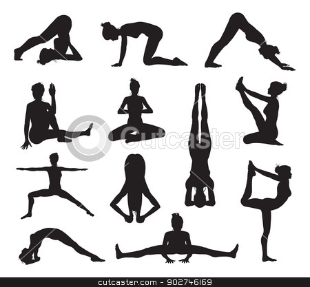 Yoga or pilates poses silhouettes stock vector clipart, A set of highly detailed high quality yoga or pilates pose silhouettes by Christos Georghiou