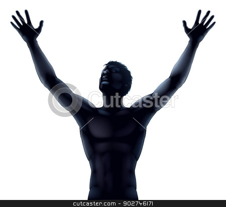 Man silhouette hands raised stock vector clipart, An illustration of a man in silhouette hands and arms raised stretching up to the sky in praise or joy by Christos Georghiou