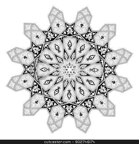 Arabian floral pattern motif stock vector clipart, Black and white Arabic middle eastern floral pattern motif, based on Arabian ornament by Christos Georghiou