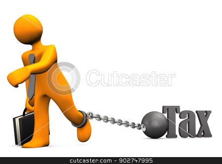 Businessman Prisoner Tax stock photo, Orange businessman chained with iron ball and the text Tax. by Alexander Limbach