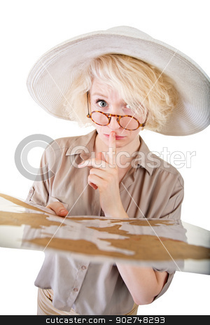 Insecure Lady with Map stock photo, One insecure young European female holding map by Scott Griessel