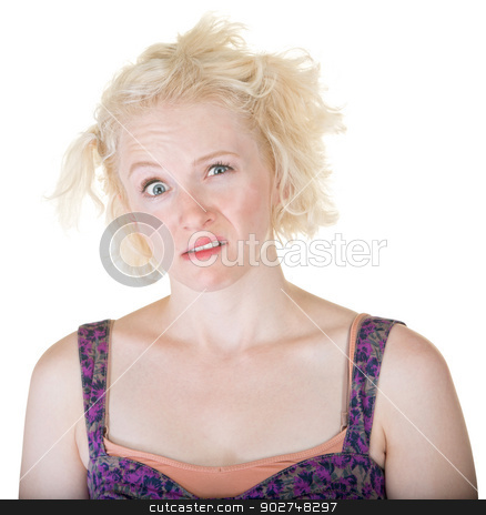Crazy Blond Lady stock photo, Confused blond young adult on isolated background by Scott Griessel