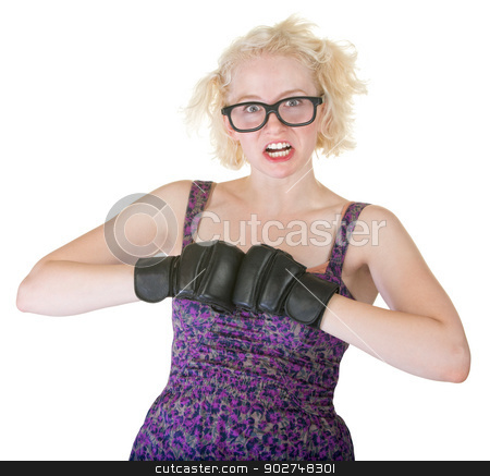 Blond with Boxing Gloves stock photo, Pretty female adult on isolated background with boxing gloves by Scott Griessel