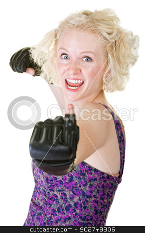 Enthusiastic Female Boxer stock photo, Excited young female fighter asking for a fight by Scott Griessel