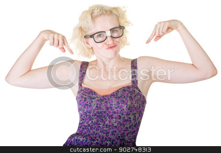 Blond Nerd Dancing stock photo, Funny Caucasian woman with damaged thick eyeglasses by Scott Griessel