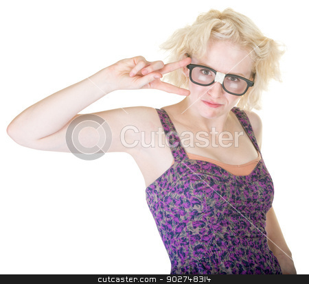 Nerd Showing Peace Sign stock photo, Beautiful Caucasian female in damaged eyeglasses with peace sign by Scott Griessel