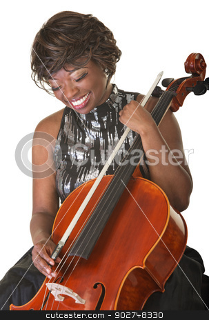 Laughing Cello Performer stock photo, Laughing Black female classical musician with cello by Scott Griessel