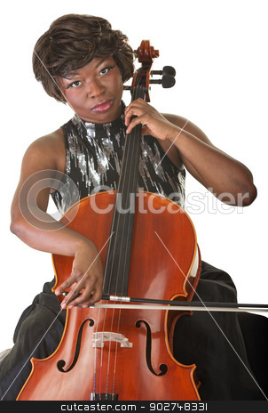Woman Playing a Cello stock photo, Isolated beautiful woman playing a cello by Scott Griessel