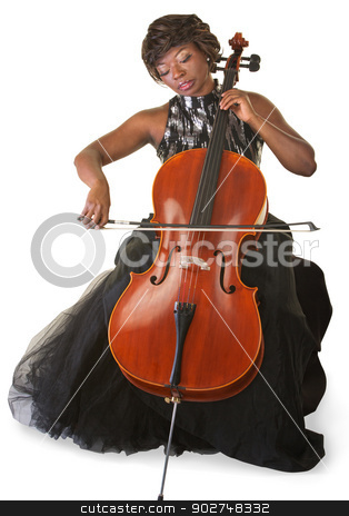 Isolated Cello Player stock photo, Pretty woman performing with a cello over white background by Scott Griessel