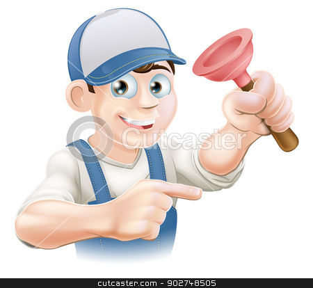 Cartoon Janitor or Plumber stock vector clipart, Cartoon plumber or janitor holding a rubber plunger and pointing by Christos Georghiou