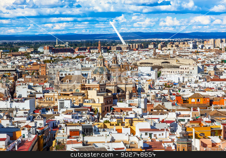 City View Bridge Churches from Giralda Tower Seville Cathedral S stock photo, Cityscape, City View, Bridge Churches Metrpol Parasol from Giralda Spire, Bell Tower, Seville Cathedral, Andalusia Spain. River Guadalquivir, by William Perry