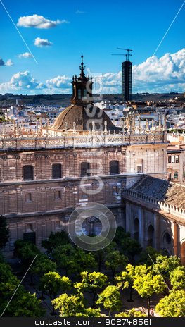 City View from Giralda Tower Orange Garden, Dome, Seville Cathed stock photo, Cityscape, City View, from Giralda Spire, Bell Tower, Orange Garden, Dome Seville Cathedral, Andalusia Spain.  Built in the 1500s.  Largest Gothic Cathedral in the World and Third Largest Church in the World.  Burial Place of Christopher Columbus.   by William Perry