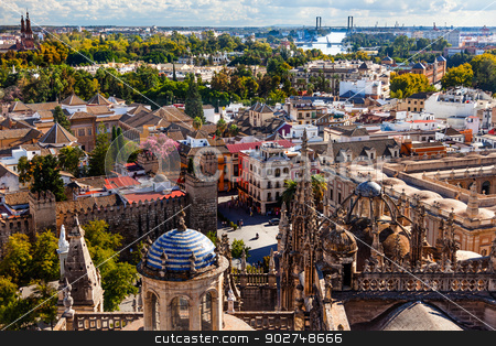 City View and Plaza Alcazar from Giralda Tower Seville Cathedral stock photo, Cityscape, City View, from Giralda Spire, Bell Tower, Seville Cathedral, Andalusia Spain. River Guadalquivir, Plaza and Alcazar    by William Perry