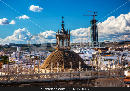 City View from Giralda Tower Dome Seville Cathedral Spain stock photo, Cityscape, City View, from Giralda Spire, Bell Tower, Dome Seville Cathedral, Andalusia Spain.  Built in the 1500s.  Largest Gothic Cathedral in the World and Third Largest Church in the World.  Burial Place of Christopher Columbus.   by William Perry