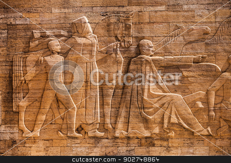 Travertine Relief at mausoleum of Atatürk stock photo, Travertine Relief at Anıtkabir mausoleum of Mustafa Kemal Atatürk by Scott Griessel
