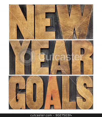 New Year goals stock photo, New Year goals - resolution concept - isolated text in letterpress wood type by Marek Uliasz