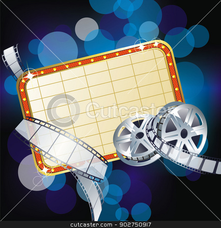 Cinema sign Vector  stock vector clipart, Cinema style neon with place for your text by Elena