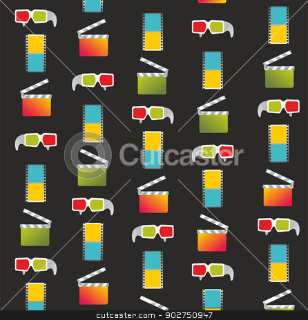 abstract cinema background stock vector clipart, abstract cinema background with anaglyph glasses, clapperboard and a film reel  by Elena