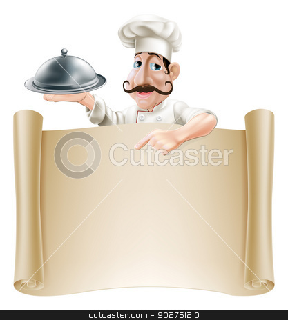 Cartoon Cook Menu Scroll stock vector clipart, A friendly cartoon cook with a moustache holding a silver platter or cloche pointing at a banner or menu by Christos Georghiou