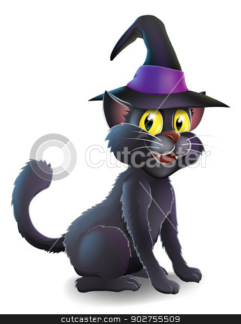 Halloween Witch Cat stock vector clipart, A cartoon witch's familiar black cat wearing a pointy witch's hat ready for Halloween by Christos Georghiou