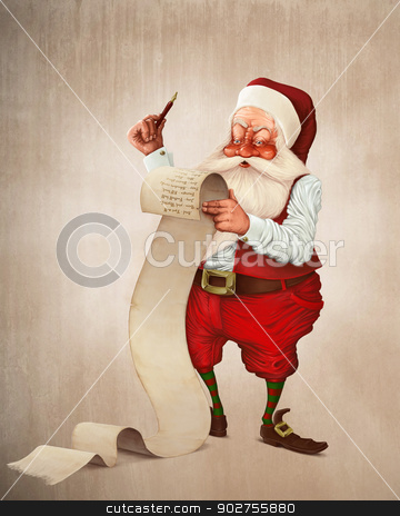 Santa Claus and the list of gifts stock photo, Santa Claus and the list of gifts by Giordano Aita