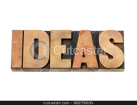 ideas word in wood type stock photo, ideas word - isolated text in letterpress wood type by Marek Uliasz
