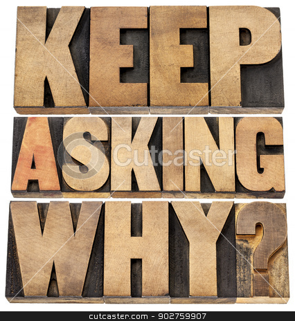 keep asking why stock photo, keep asking why  - motivational advice - a collage of isolated text in letterpress wood type blocks by Marek Uliasz