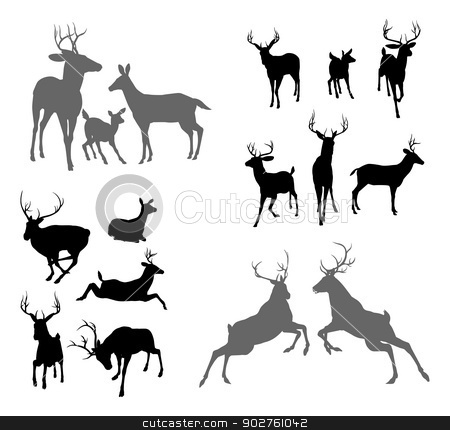 Deer stag fawn and doe silhouettes stock vector clipart, A set of deer silhouettes including fawn, doe bucks and stags in various poses. Also a family group pose and two stags fighting by Christos Georghiou