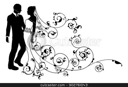 Silhouette bride and groom wedding couple stock vector clipart, A bride and groom wedding couple in silhouette with beautiful bridal dress and abstract floral pattern. Could be having their first dance.  by Christos Georghiou
