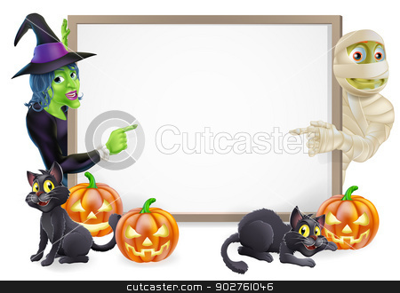 Mummy and Witch Halloween Sign stock vector clipart, Halloween sign or banner with orange Halloween pumpkins and black witch's cats, witch's broom stick and cartoon witch and mummy characters  by Christos Georghiou