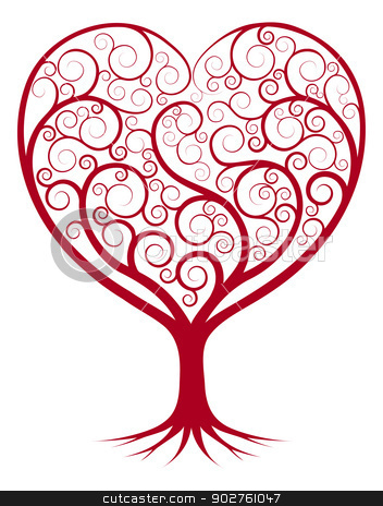 Abstract heart tree stock vector clipart, Abstract tree illustration with the branches growing into a heart shape.  by Christos Georghiou