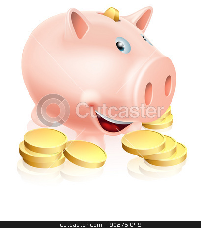 Happy Piggy Bank stock vector clipart, A happy cartoon piggy bank money box with lots of gold coins by Christos Georghiou