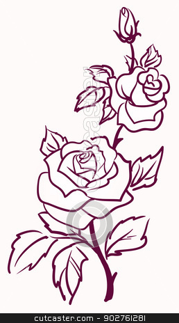three stylized pale roses  isolated on light  background, vector
