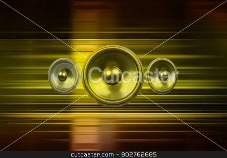 Music speakers with gold light streaks stock photo, Audio speakers with gold light streaks by steve ball