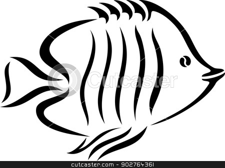 Cartoon Fish stock vector clipart, A black and white illustration of a fish by Volina