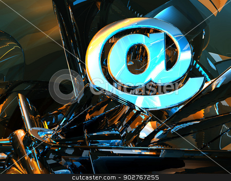 email symbol stock photo, email symbol in abstract futuristic space - 3d illustration by J?