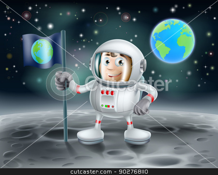 Cartoon astronaut on the moon stock vector clipart, An illustration of a cute cartoon astronaut on the moon planting a flag with the planet earth in the background  by Christos Georghiou