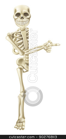 Cartoon Halloween Skeleton Pointing stock vector clipart, A cartoon skeleton character peeping round a Halloween banner or sign and pointing at its contents by Christos Georghiou