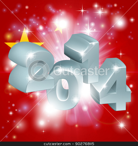 2014 Chinese flag stock vector clipart, Flag of China 2014 background. New Year or similar concept by Christos Georghiou