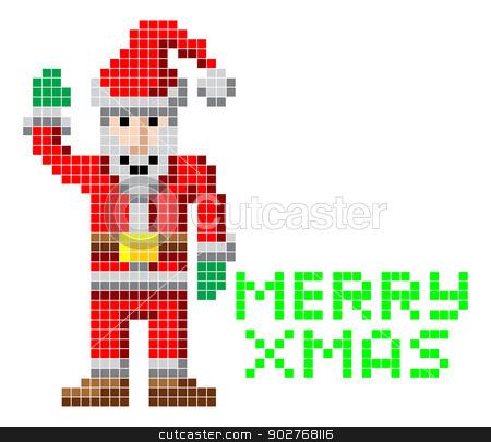 Retro pixel art Christmas Santa stock vector clipart, Retro arcade video game style pixel art Christmas Santa with Merry Xmas message by Christos Georghiou