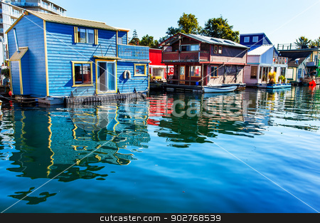 Floating Home Village Blue Red  Brown Houseboats Fisherman's Wha stock photo, Floating Home Village Blue Red Brown Houseboats Fisherman's Wharf Reflection Inner Harbor, Victoria Vancouver British Columbia Canada Pacific Northwest.  Close to the center of Victoria, this area has floating homes, boats, piers, and restuarants.  by William Perry