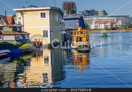 Floating Home Village Water Taxis Blue Houseboats Fisherman's Wh stock photo, Floating Home Village Blue Houseboats Water Taxis Fisherman's Wharf Reflection Inner Harbor, Victoria Vancouver British Columbia Canada Pacific Northwest.  Close to the center of Victoria, this area has floating homes, boats, piers, and restuarants.  by William Perry