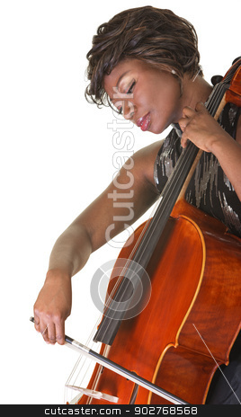 Serious Cello Performer stock photo, Serious Black female classical musician playing a cello by Scott Griessel