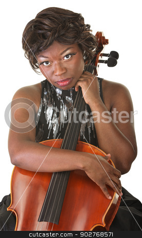 Pensive Cello Performer stock photo, Pensive woman over white background holding a cello by Scott Griessel