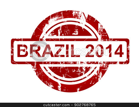 Brazil 2014 stamp stock photo, Brazil 2014 stamp isolated on white background. by Martin Crowdy