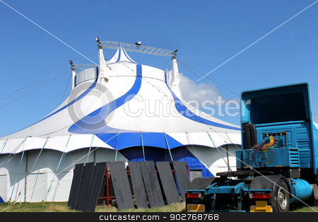 Circus tent and truck in summer stock photo, Scenic view of circus tent with truck in foreground. by Martin Crowdy