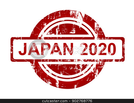 Japan 2020 stamp stock photo, Japan 2020 stamp isolated on white background. by Martin Crowdy